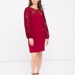 WHBM Red Pleated Lace Long Sleeve Shift Dress